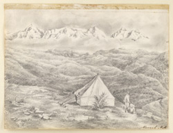 View of snows, Almora (U.P.); tent in foreground. 4 November 1844